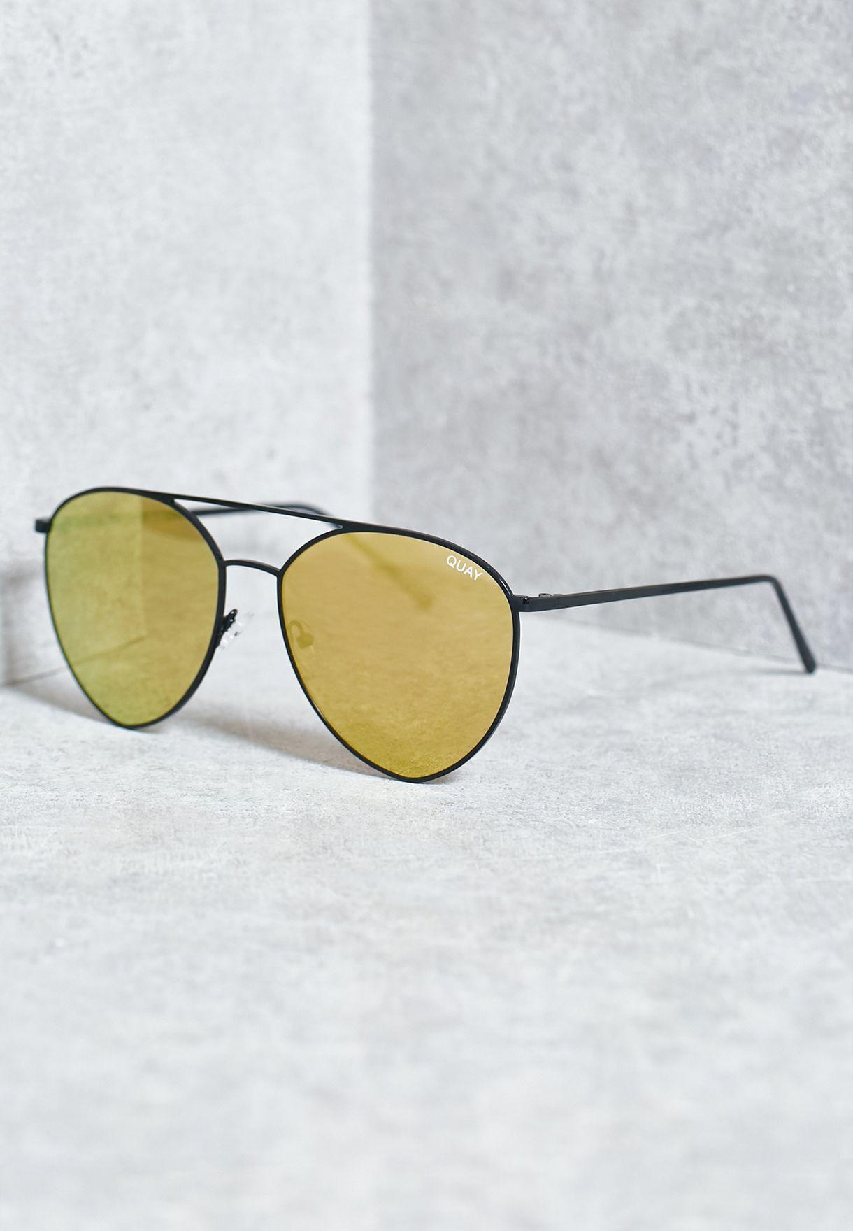 d8efe80689 Shop Quay Australia black Indio Sunglasses QC-000189- BLACK GOLD ...