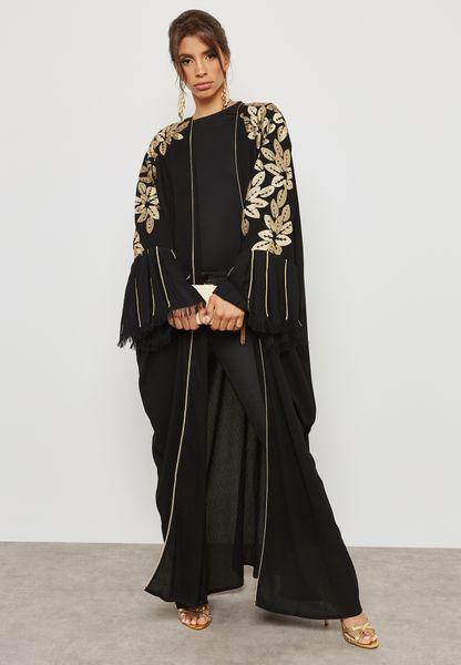 Embroidered Top Fringed Sleeve Abaya