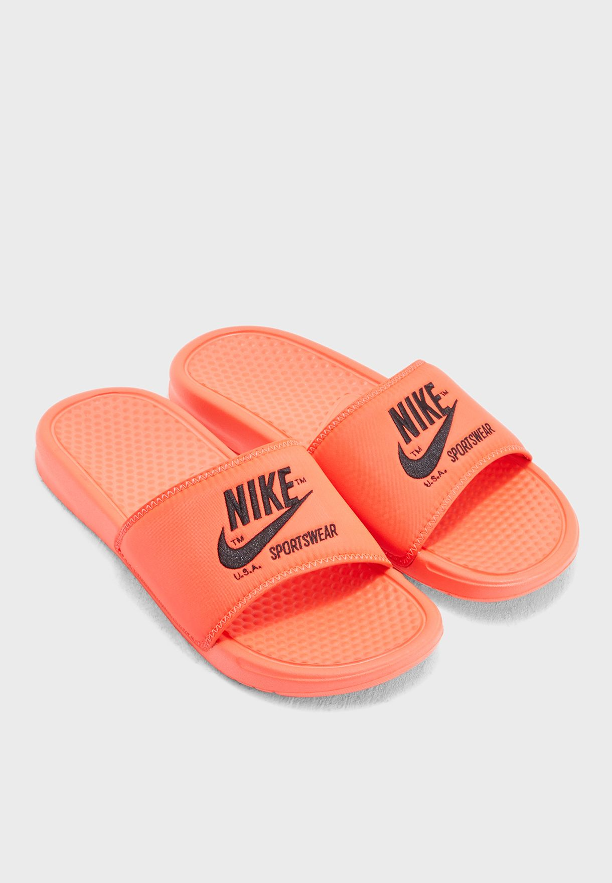 28b031707592 Shop Nike orange Benassi JDI TXT SE Slides AR1540-600 for Men in UAE ...