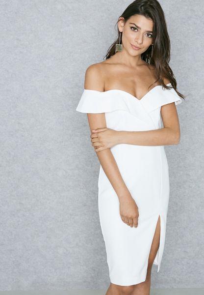 Front Slit Bardot Dress