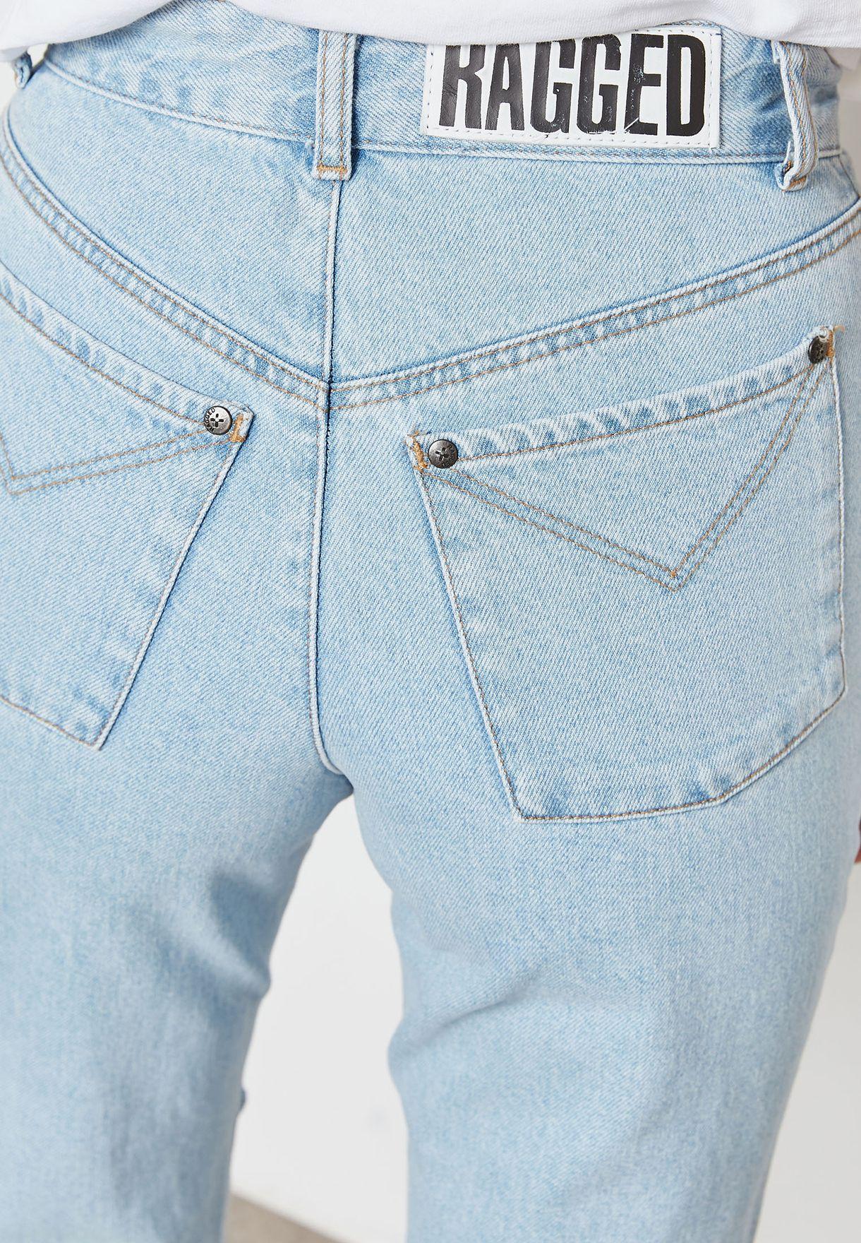 بنطال جينز مخطط بركب ممزقة