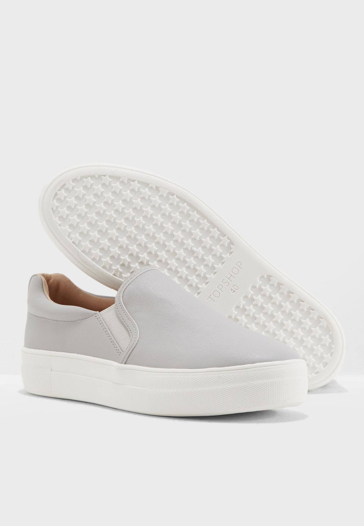 40899638f7a6 Shop Topshop grey Tina Flatform Slip On Trainers 42T03NGRY for Women ...