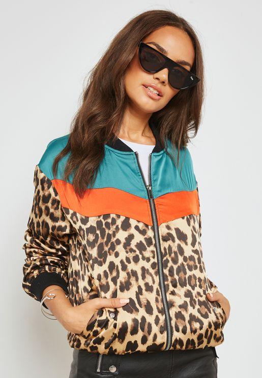 Contrast Leopard Print Bomber Jacket