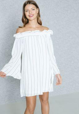 Ruffled Detail Striped Bardot Dress
