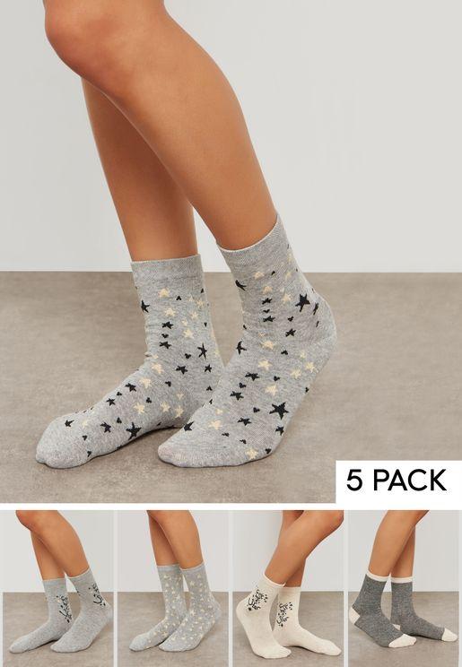 Printed 5 Pack Socks