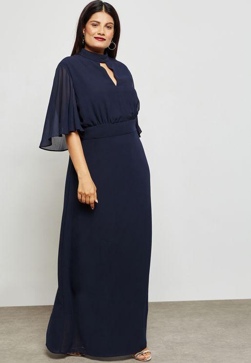 Layered Keyhole Front Maxi Dress
