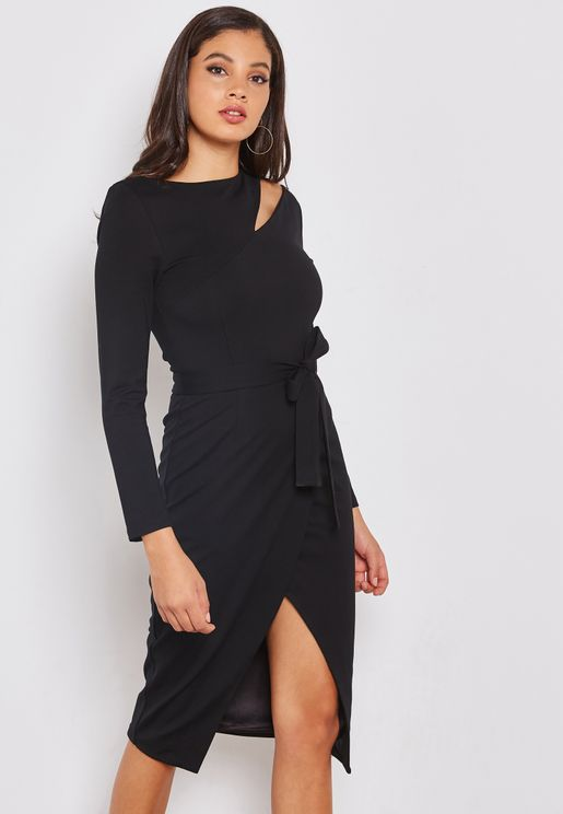 Asymmetric Cut Out Midi Dress with Slit