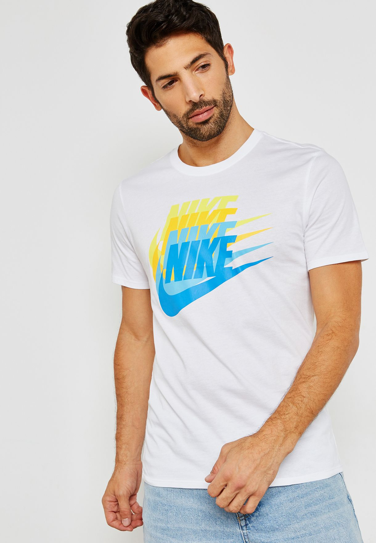 official photos d410e 08319 Shop Nike white Concept Blue T-Shirt 911901-100 for Men in Saudi -  NI727AT45XQS