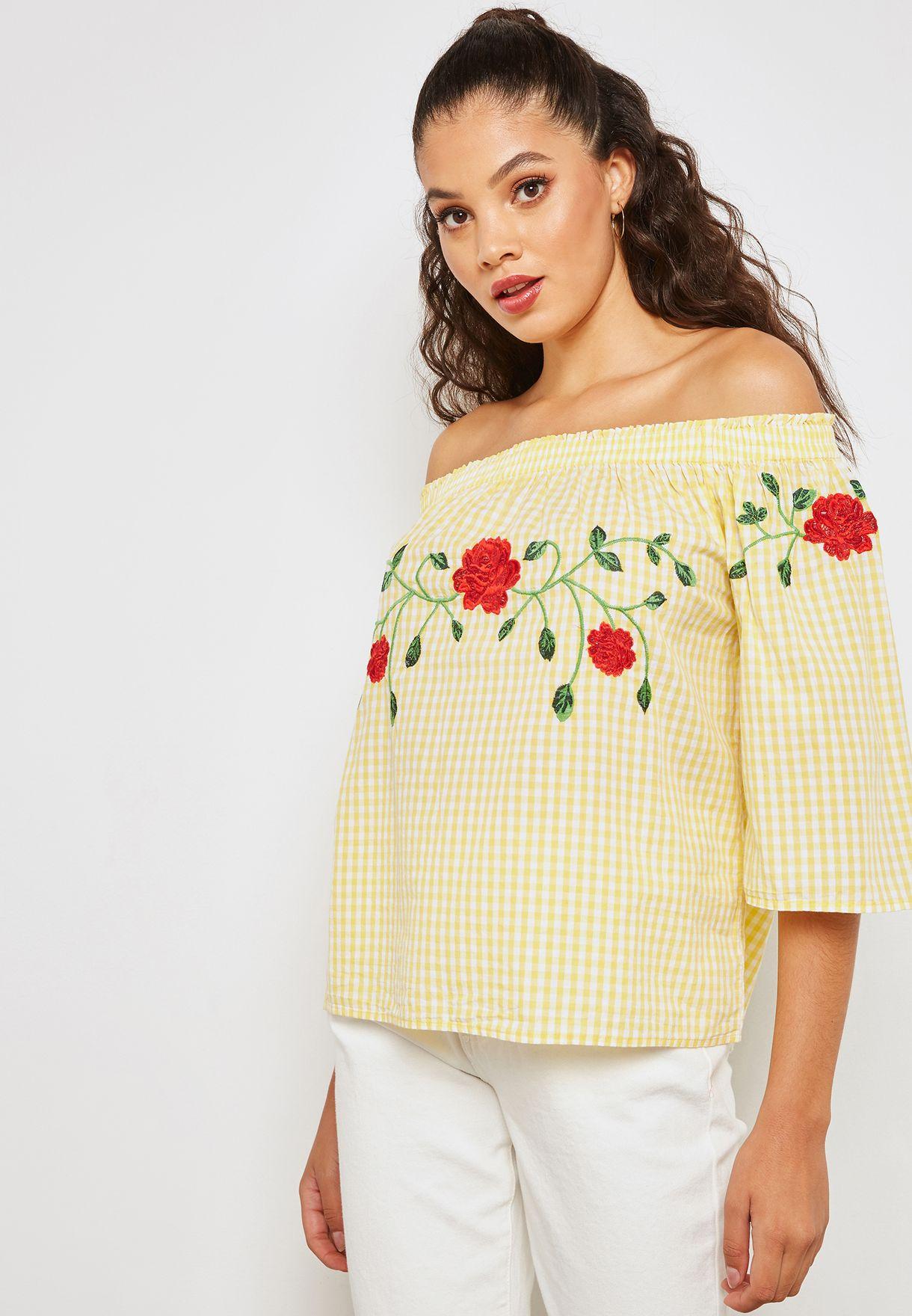 910e928b0a9 Shop Vero Moda yellow Gingham Embroidered Bardot Top 10197586 for ...