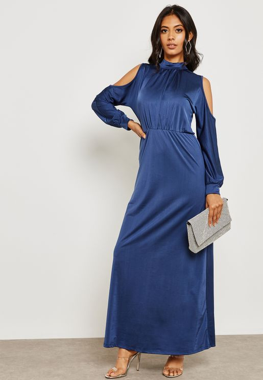 High Neck Cold Shoulder Dress