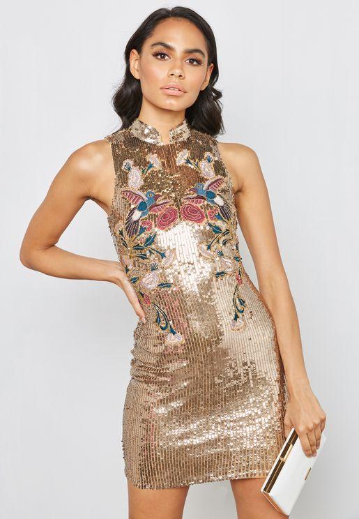 Open Back Embellished Sequin Mini Dress