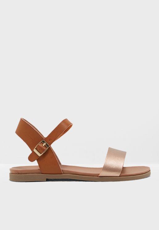 Wide Fit Tan Metallic Strap Flat Sandals