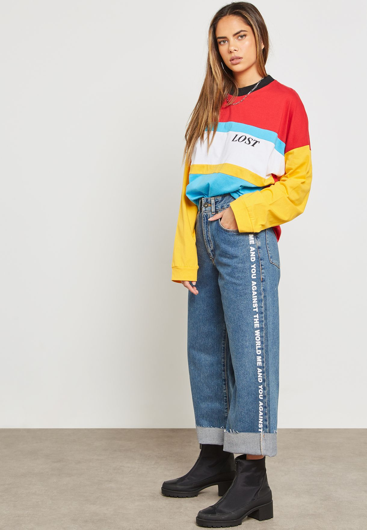Slogan Tape Wide Leg Jeans