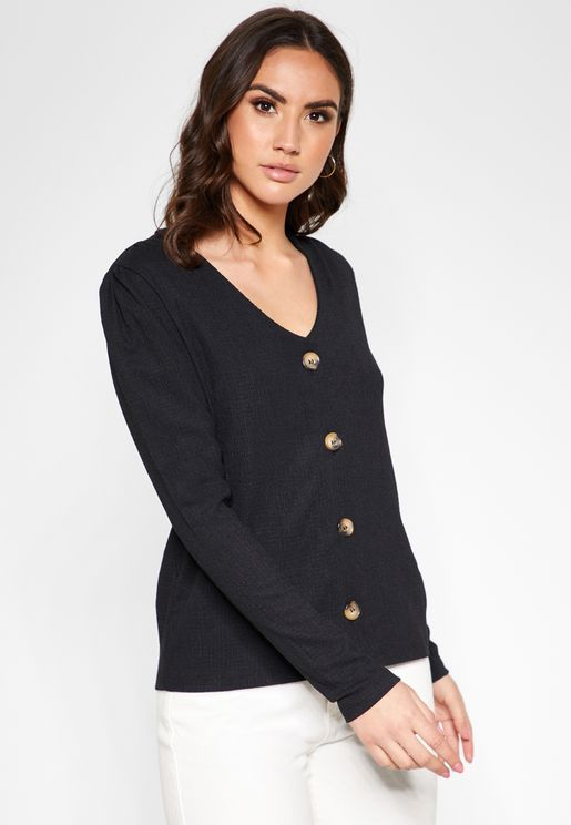 Button Through Long Sleeve Top