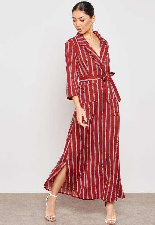 فستان مكسي بخطوط ونمط لف