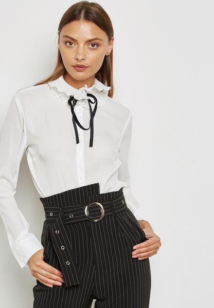 Contrast Tie Neck Ruffle Detail Shirt