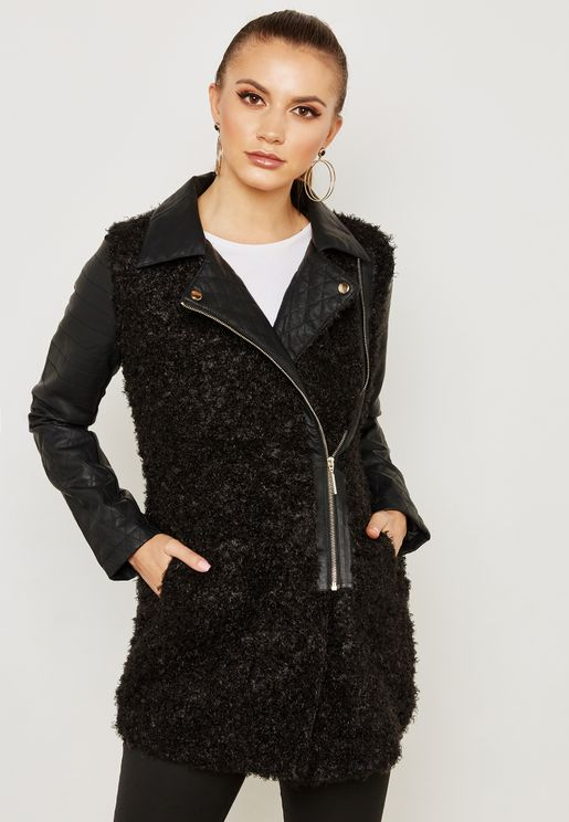 PU Quilted Detail Jacket