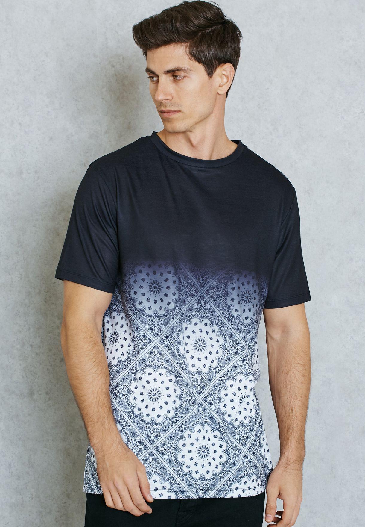 c259396a2 Shop Seventy five black Paisley Colour Block T-Shirt for Men in UAE ...