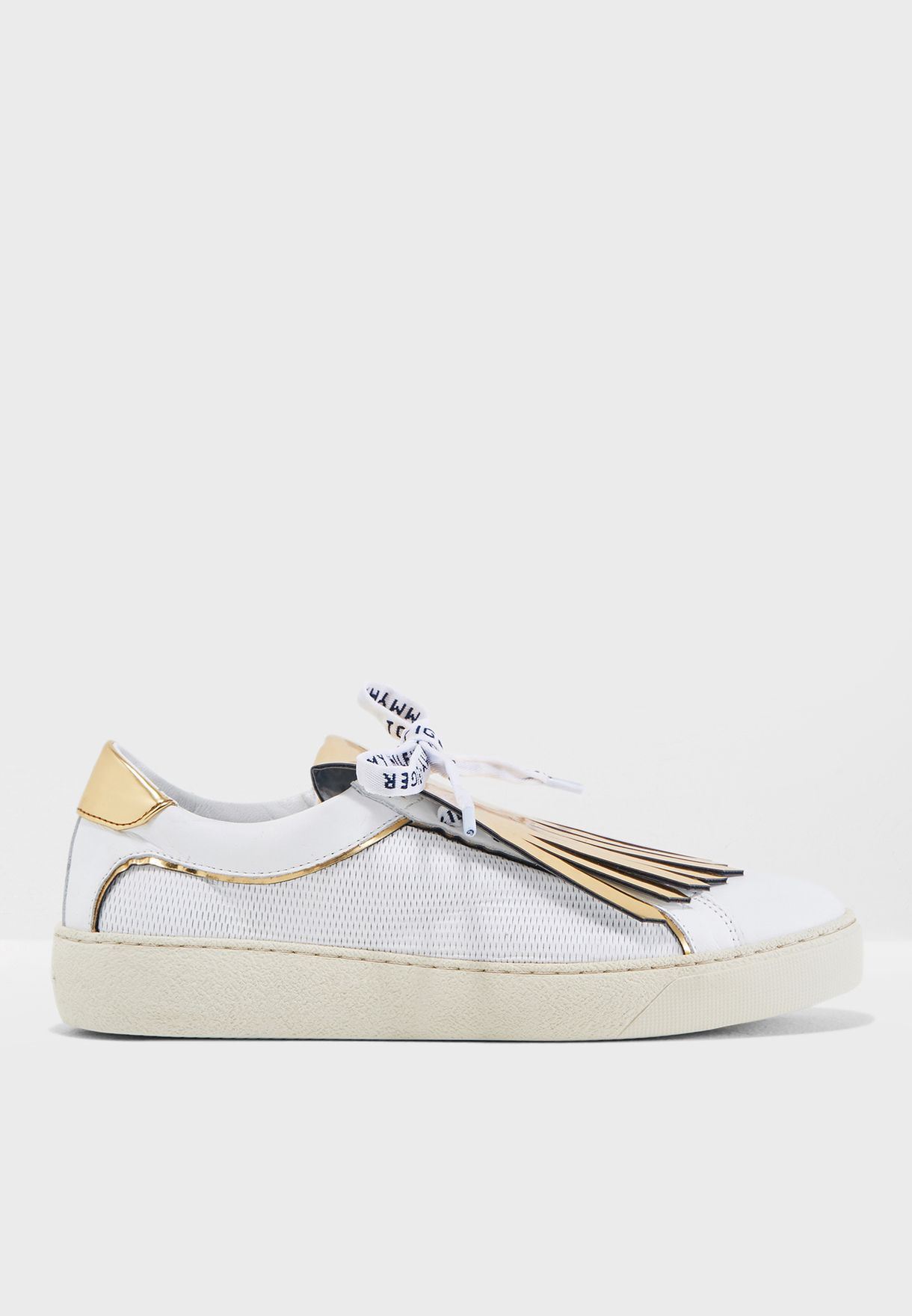 79f1c91dceda4 Shop Tommy Hilfiger white Playful Leather Iconic Sneaker FW0FW02978 ...