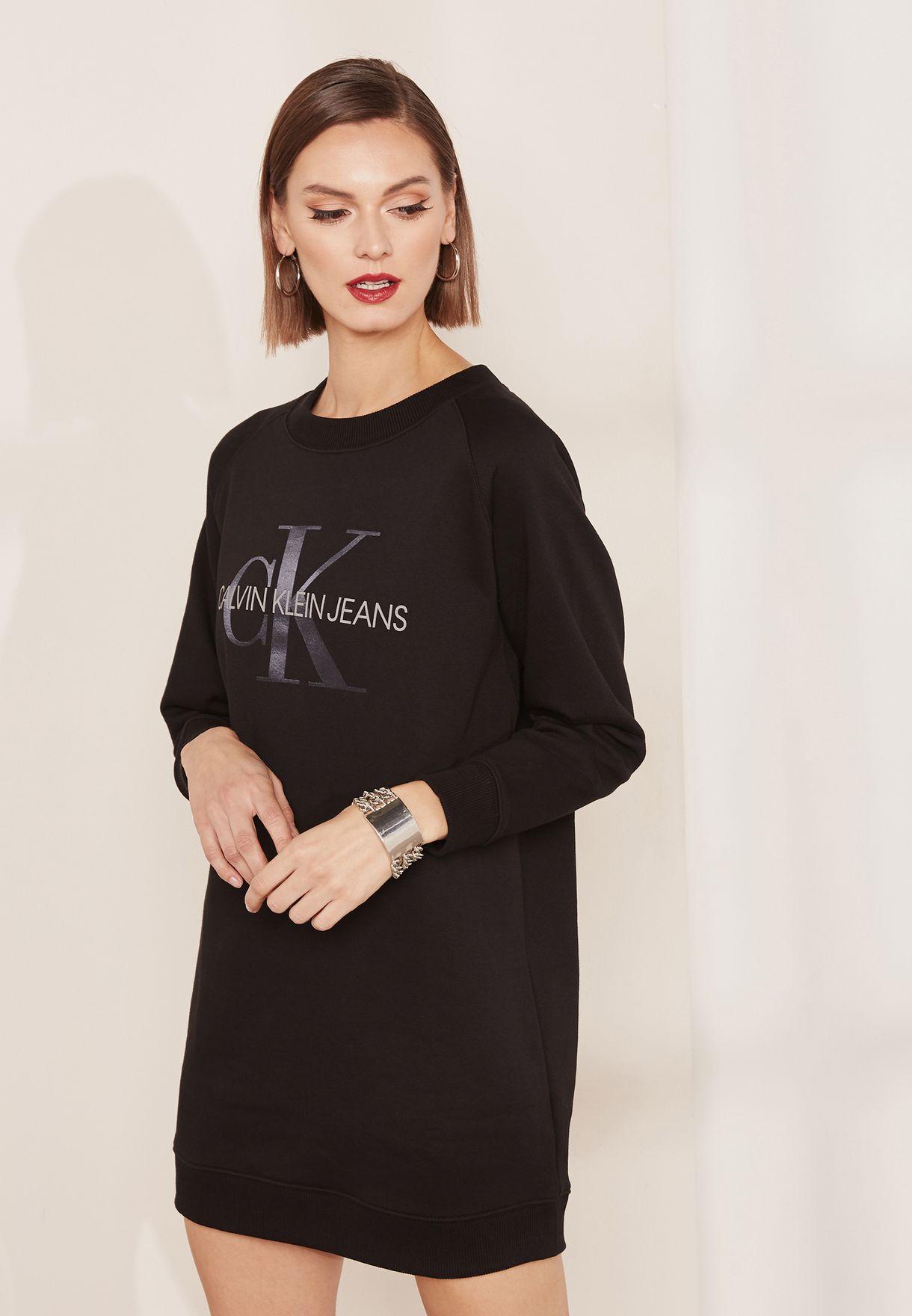 ff6511ec2b6 Shop Calvin Klein Jeans black Logo Sweatshirt Dress J20J209536 for ...
