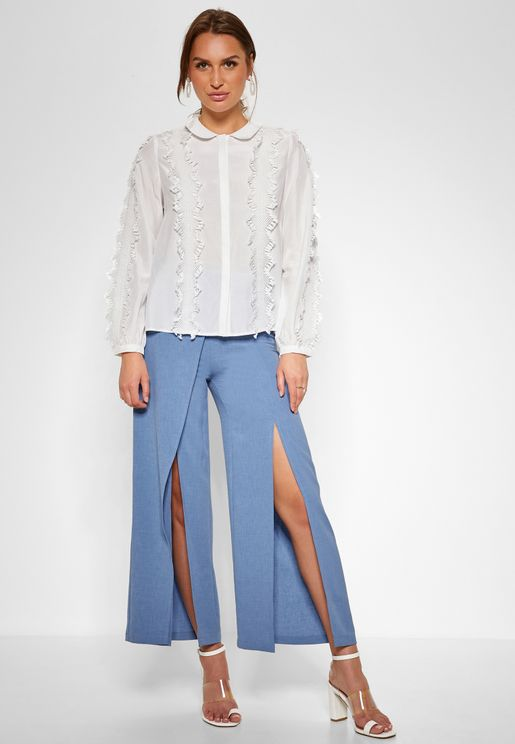Split Detail Wrap Pants