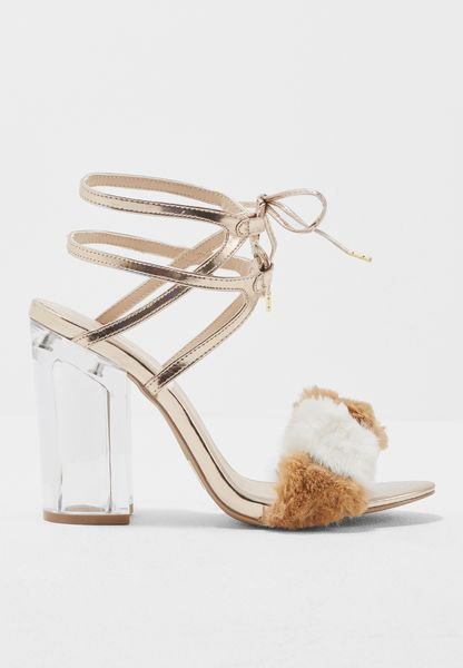 Fur Sandals With Clear Heel