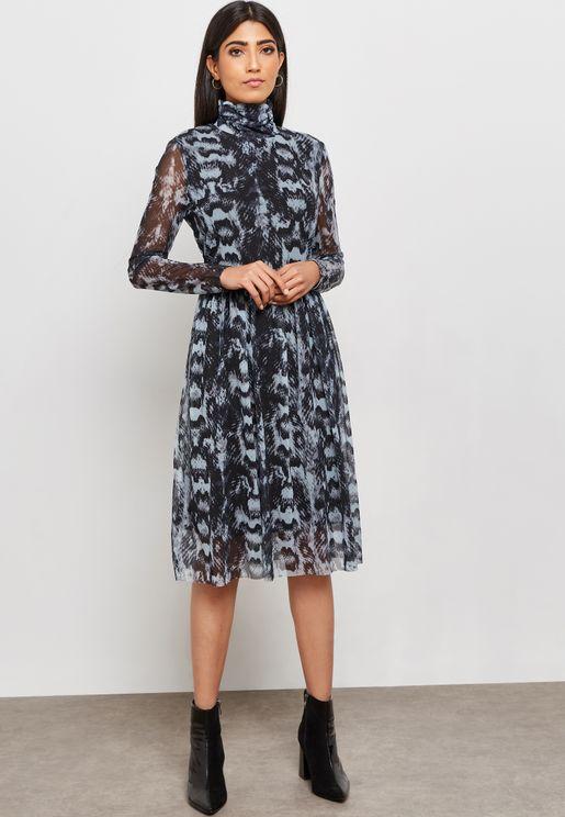 Mesh Overlay Printed Dress