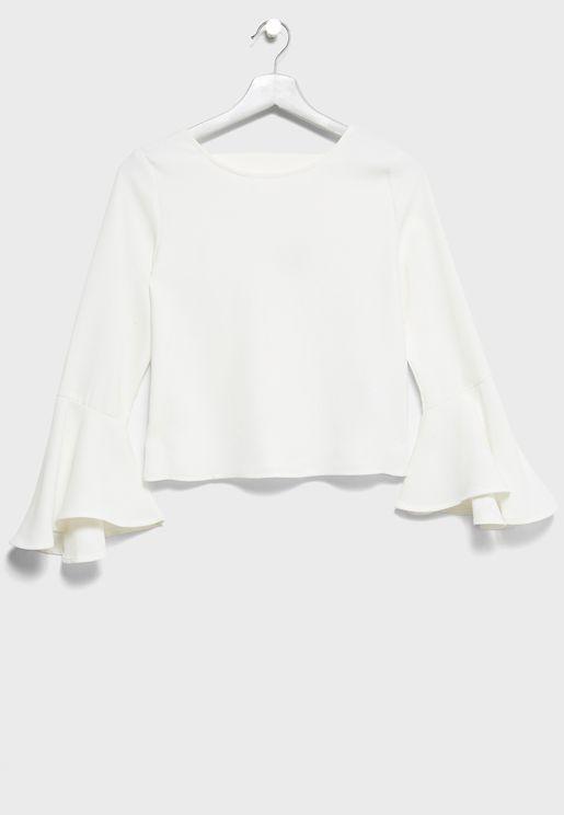 Teen Flute Sleeve  Dress