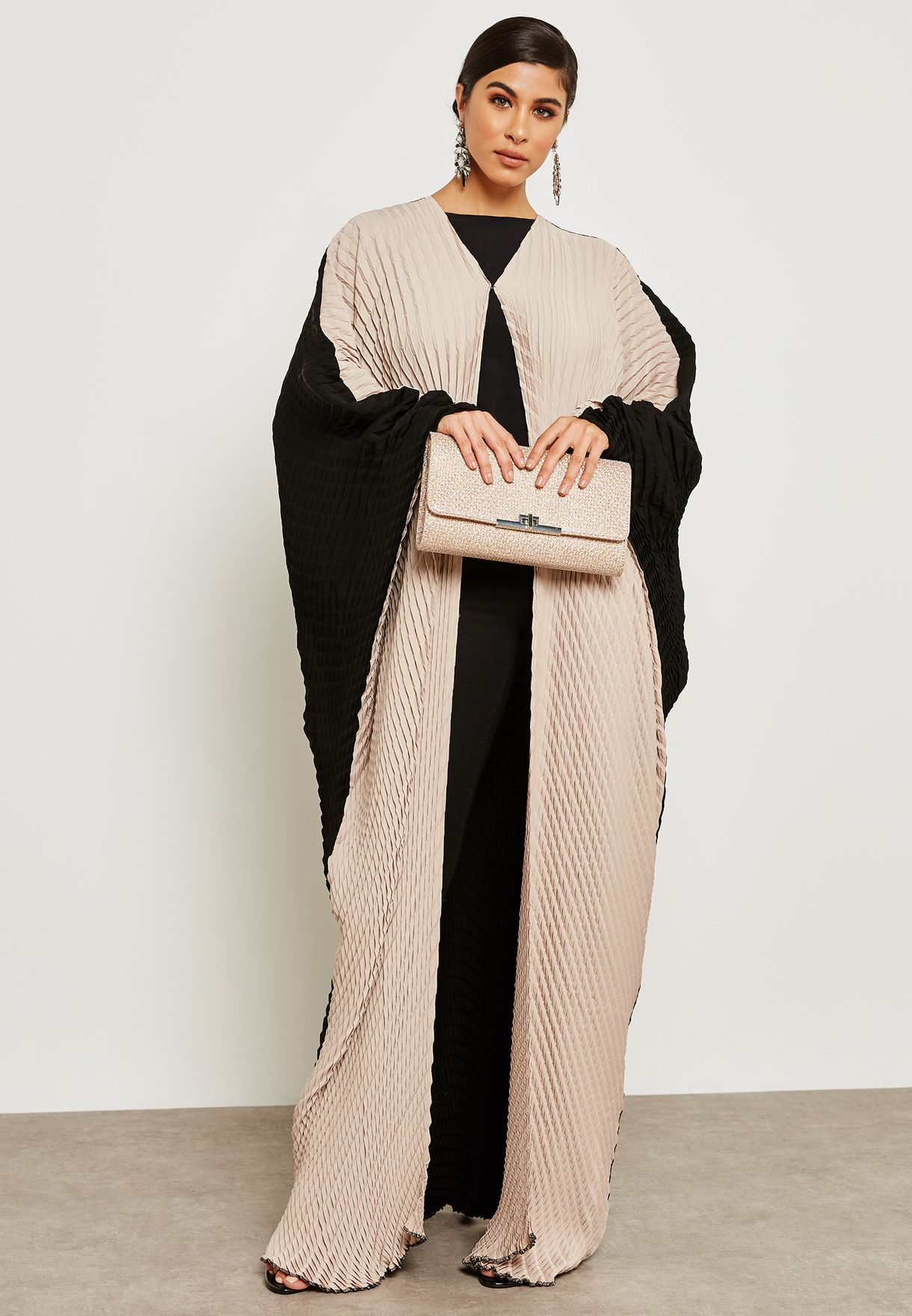 Colourblock Double Pleated Abaya