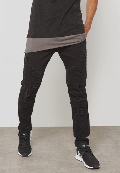 Black Ian Biker Slim Fit Jeans