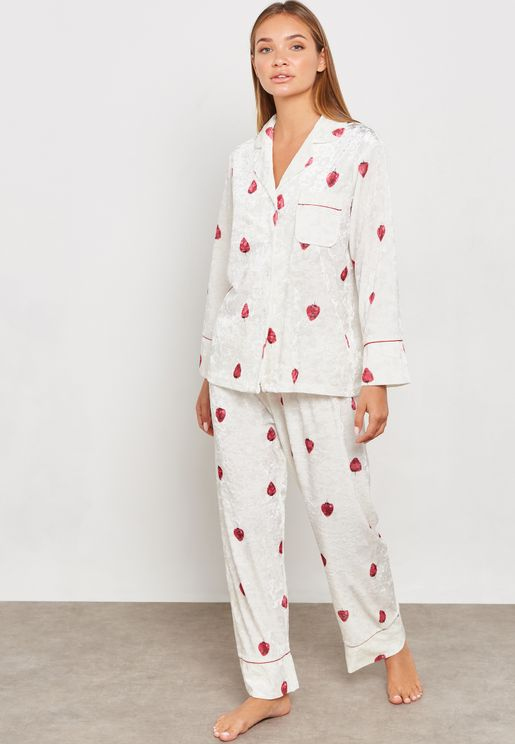 aa241e4257 Strawberry Print Velvet Shirt Pyjama Set