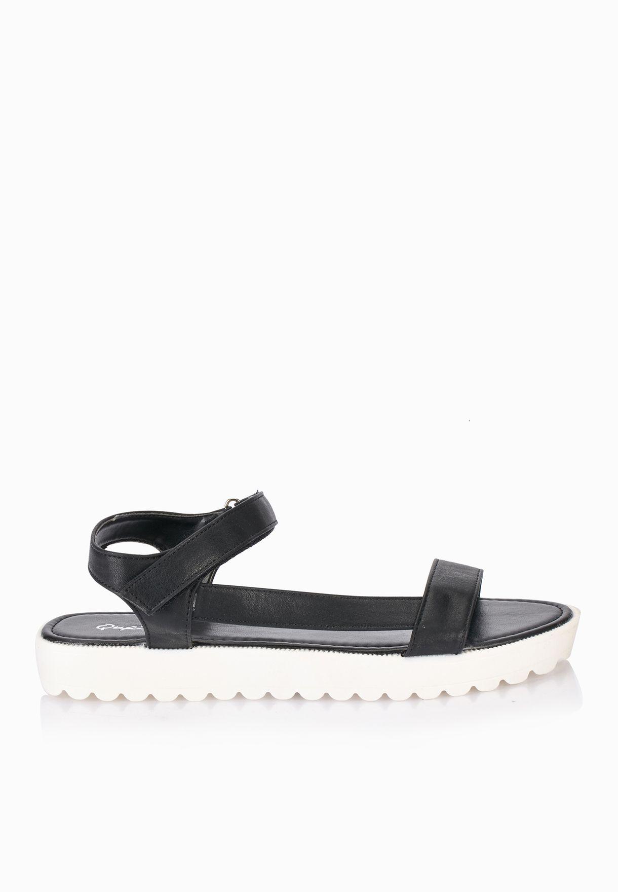 ac690b3e424 Shop Qupid black T Bar Ankle Strap Sandals for Women in Bahrain ...