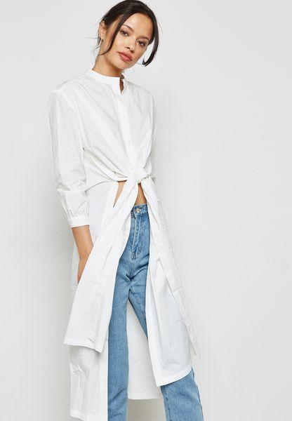 Tie Front Longline Shirt