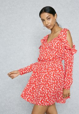 Floral Print Wrap Front Ruffle Cold Shoulder Dress