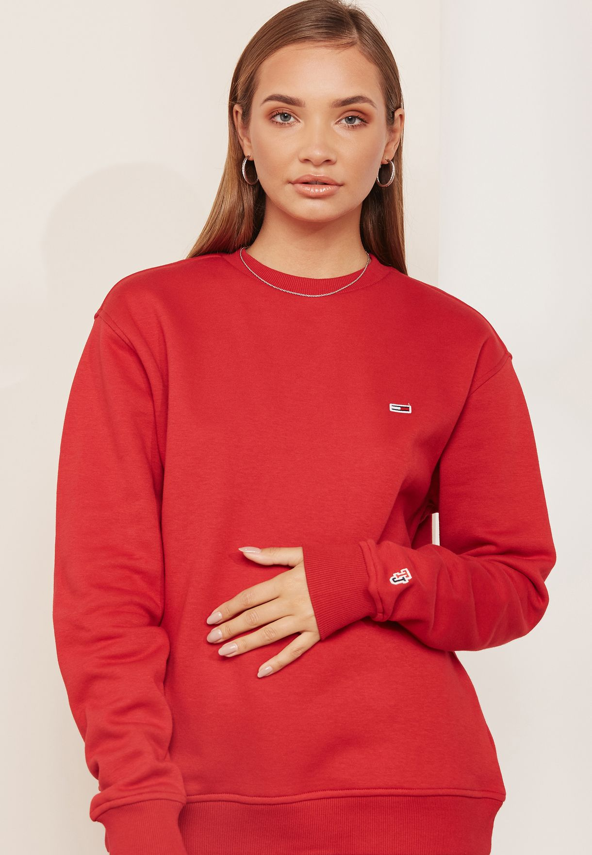 4179dc5d0ff Shop Tommy Jeans red Logo Sweatshirt DW0DW04529 for Women in Kuwait ...