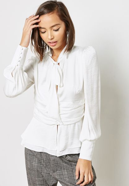 Plunge Lace Up Top