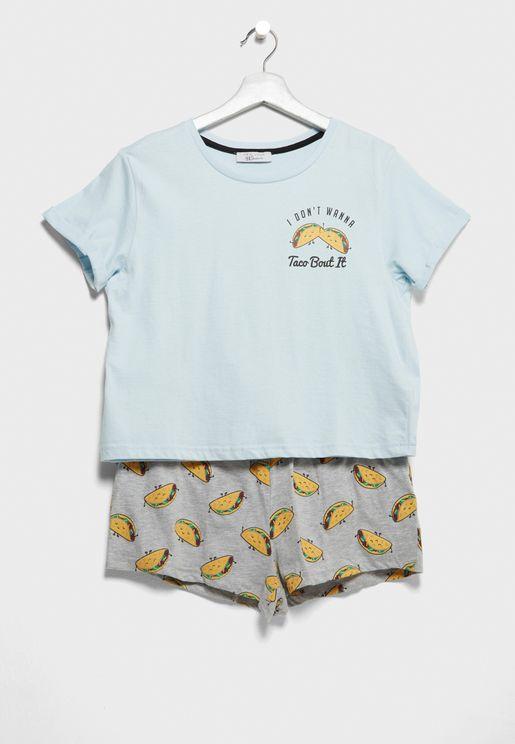 Teen T-Shirt + Pyjama Shorts Set