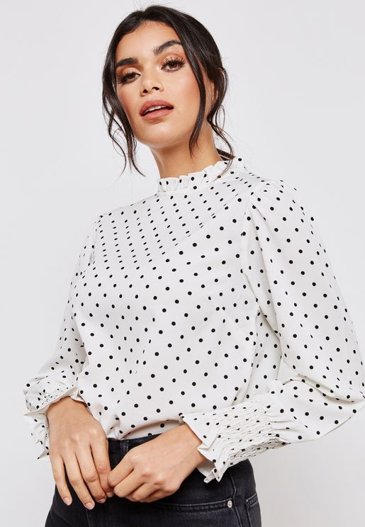 Printed Ruched Sleeve Top