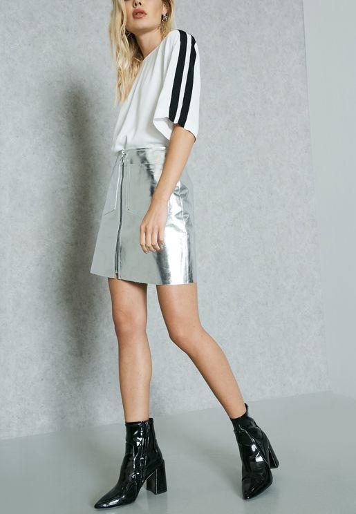 Zipped Metallic Skirt