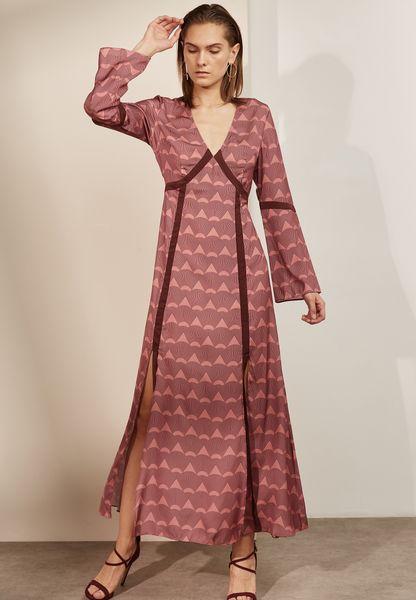 Printed Side Split Maxi Dress