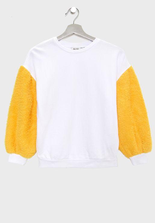 Teen Fur Sleeve Sweatshirt