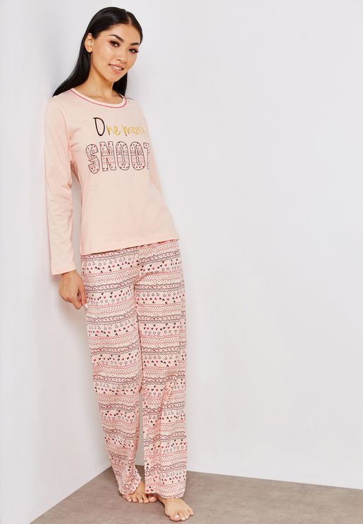 Crew Neck Slogan Top Printed Pyjama Set