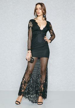 Plunge Neck Lace Dress