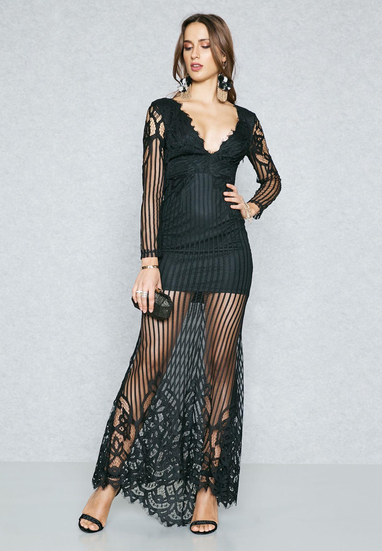 e1a244b75e1 Shop Ella Limited Edition black Open Back Lace Mesh Overlay Dress ...