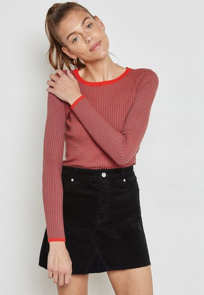 Contrast Detail Ribbed Sweater