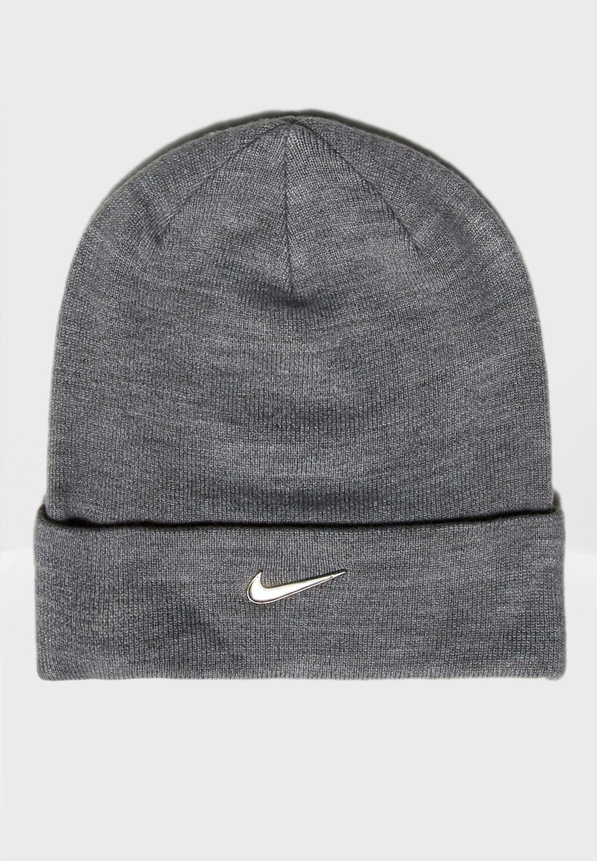 f7c5db72473 Shop Nike grey Metal Swoosh Beanie 825577-091 for Kids in UAE ...
