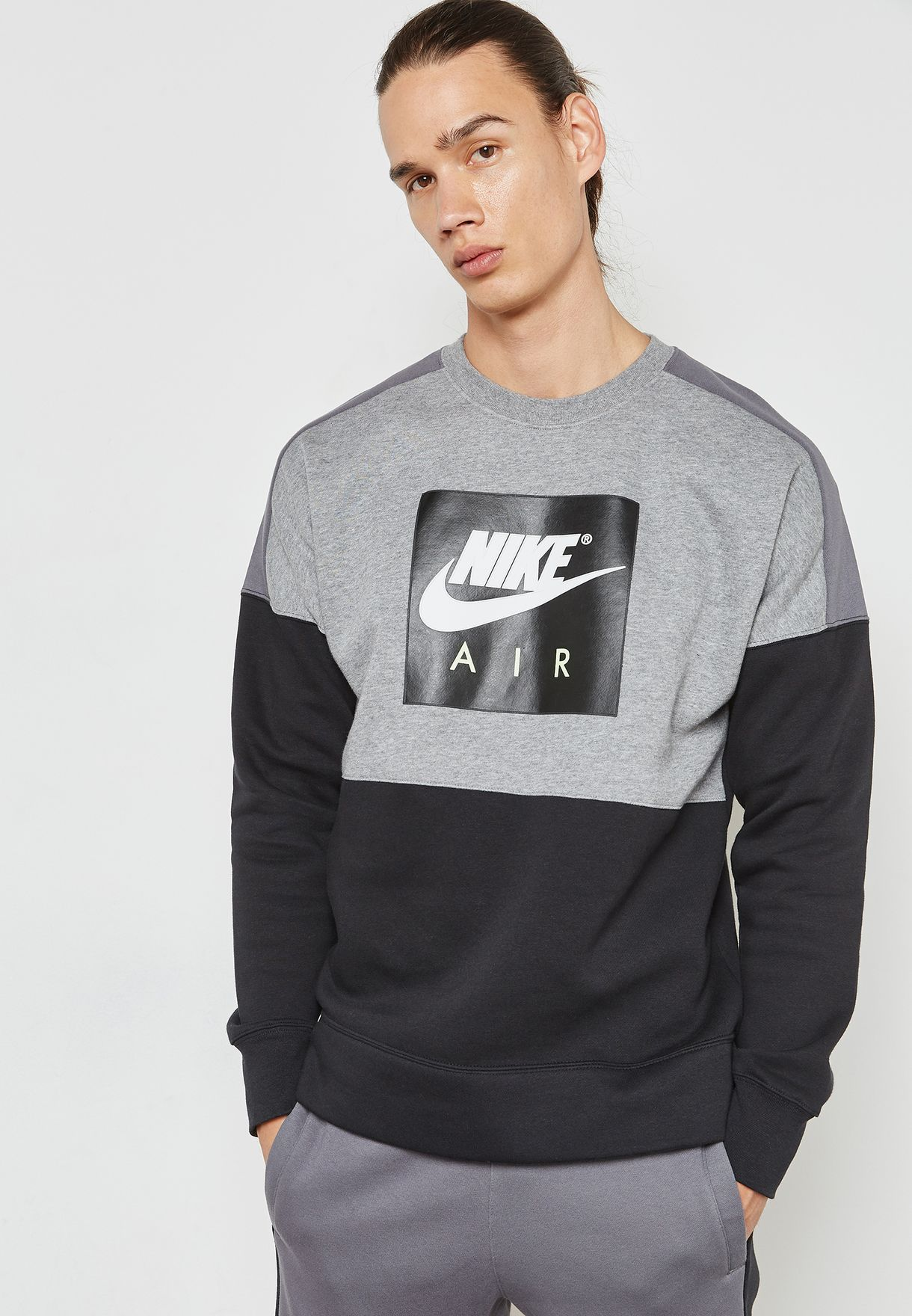 f64d6a829577 Shop Nike grey Air Fleece Sweatshirt 886050-091 for Men in UAE ...
