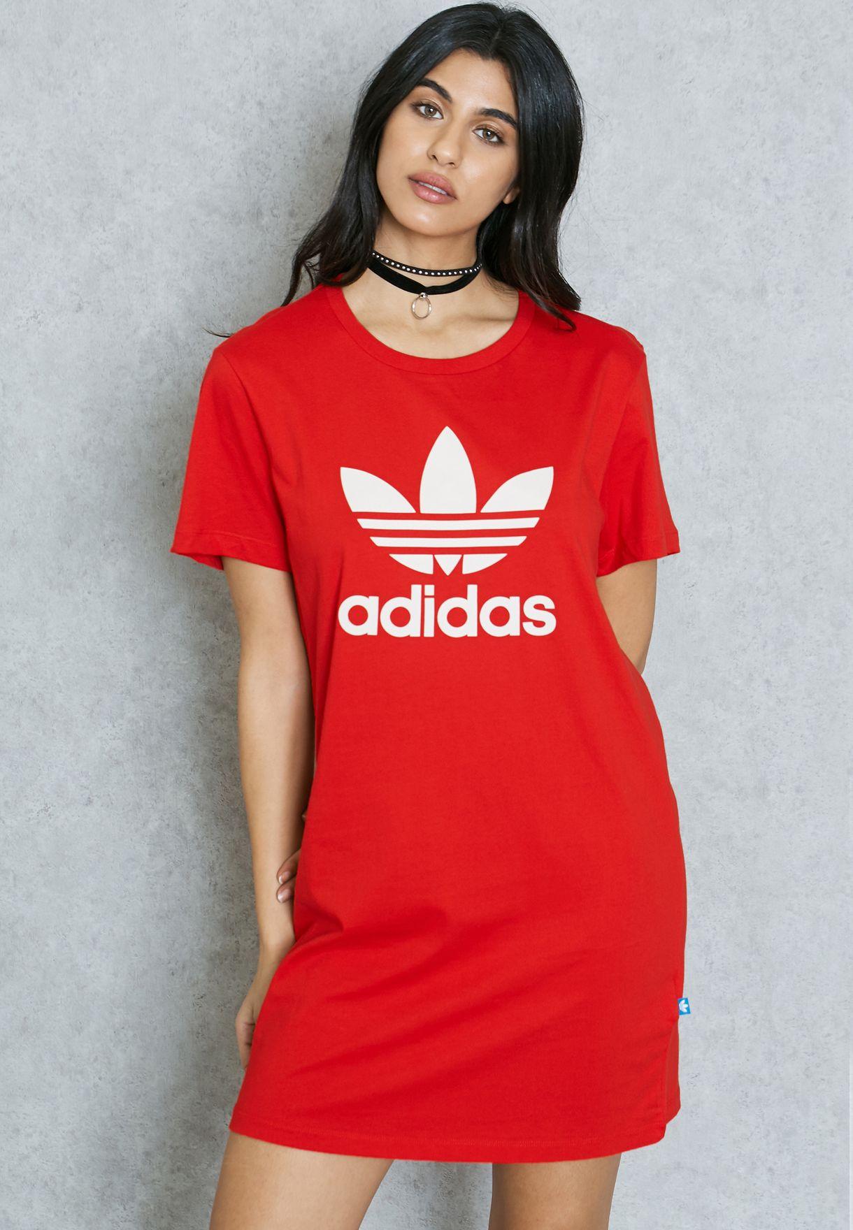 bdf421f3df26 Shop adidas Originals red Trefoil T-Shirt Dress AY8124 for Women in ...