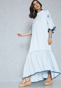 Embroidered Contrast Ruffle Trim Dress