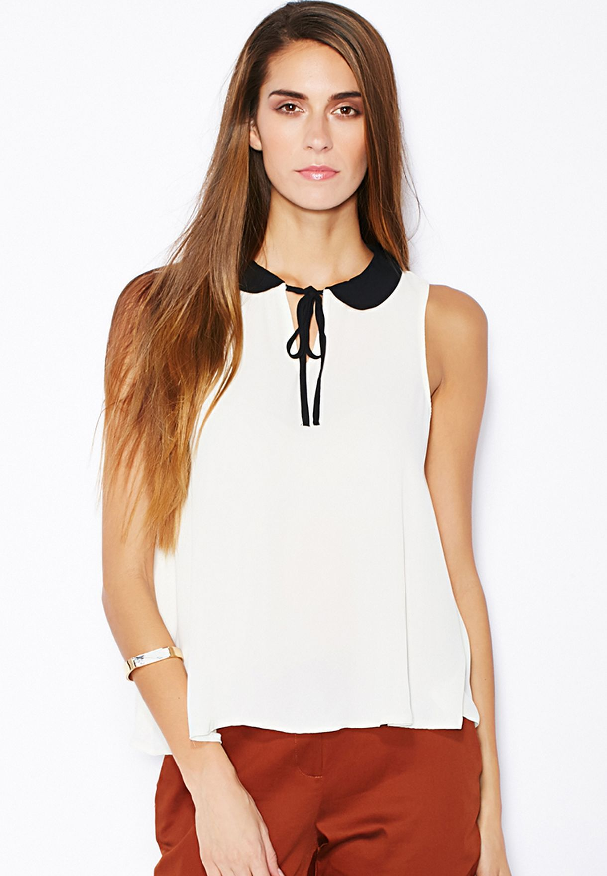 a3761c11a178ce Shop New Look white Contrast Collar Tie Neck Top for Women in Bahrain -  NE767AT35BVK